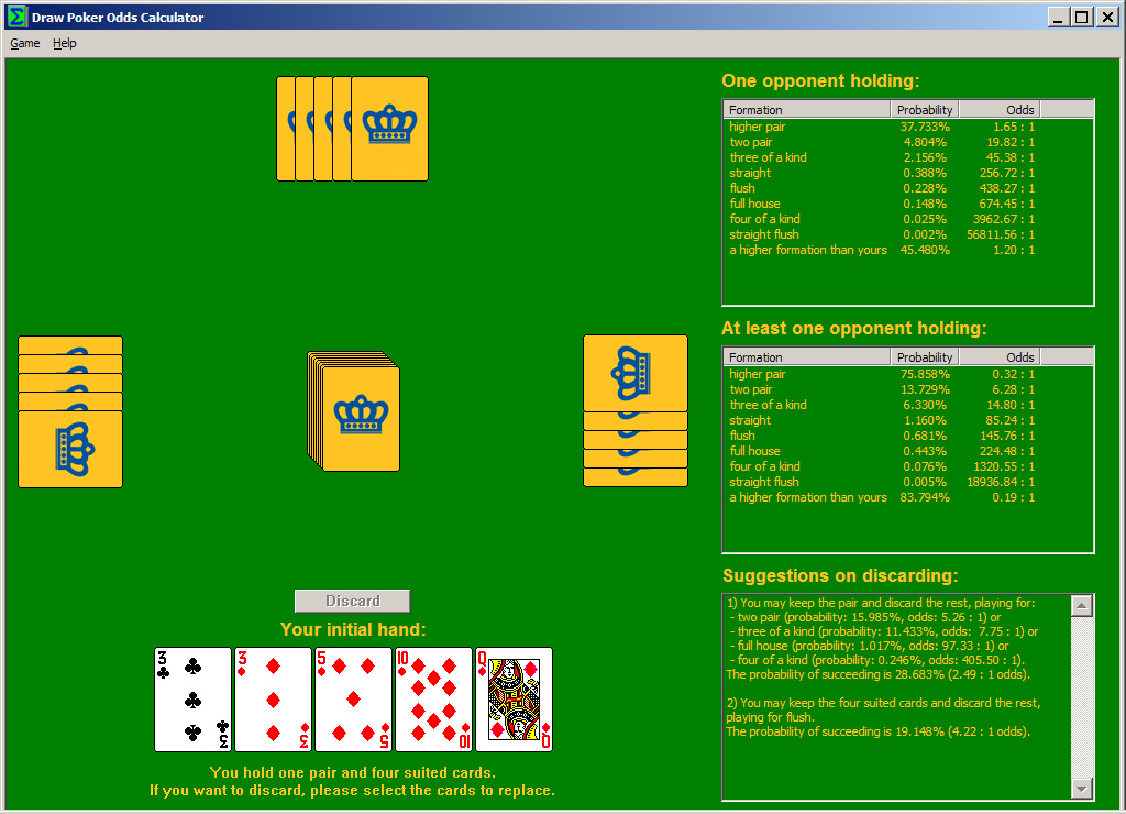 Click to view Draw Poker Odds Calculator 1.1 screenshot